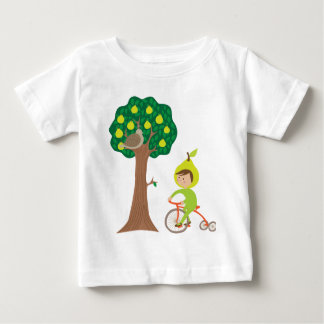 Cute Pear Girl Biking by a Pear Tree Baby T-Shirt