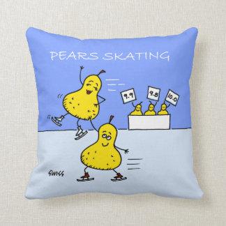 Cute Pears Cartoon Figure Skaters Throw Pillow