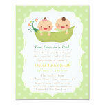 Cute Peas In A Pod Twin Baby Shower Invitations at Zazzle