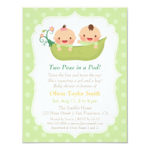 Two peas in a pod invitations announcements zazzle cute peas in a pod twin baby shower invitations filmwisefo Image collections