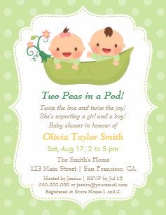 Twin baby shower invitations zazzle cute peas in a pod twin baby shower invitations filmwisefo