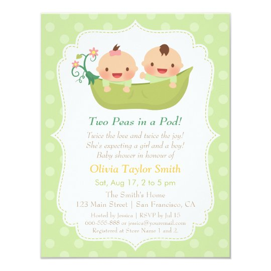 High Quality Cute Peas In A Pod Twin Baby Shower Invitations