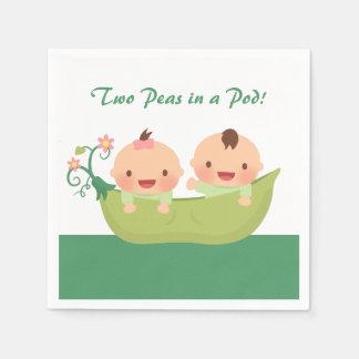 Cute Peas in a Pod Twin Baby Shower Supplies Napkin