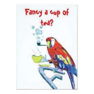 Cute Peculiar Parrot Tea / Coffee Invitations