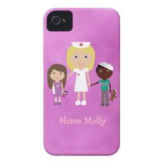 Cute Pediatric Nurse & Children Purple Case-Mate iPhone 4 Case