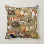 Cute Pedigree Pet Dog Wallpaper Design Throw Pillow