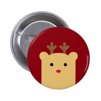 Cute Peekaboo Reindeer Holiday Button