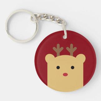 Cute Peekaboo Reindeer Holiday Keychain