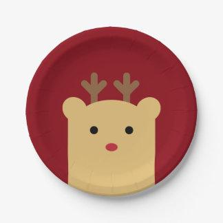 Cute Peekaboo Reindeer Holiday Paper Plate