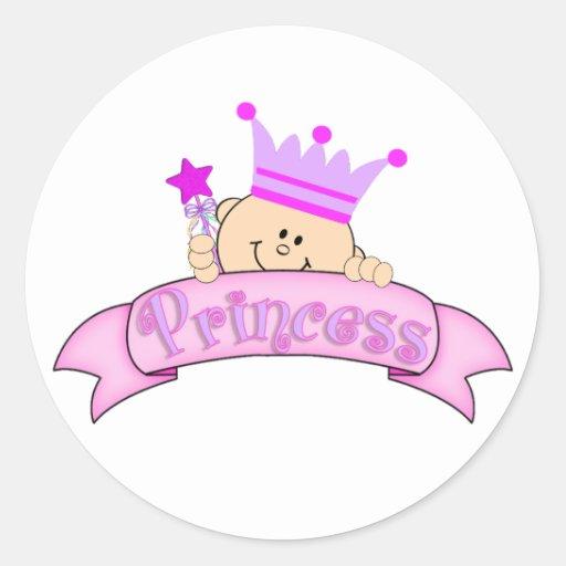 Cute Peeking Baby Princess Round Stickers