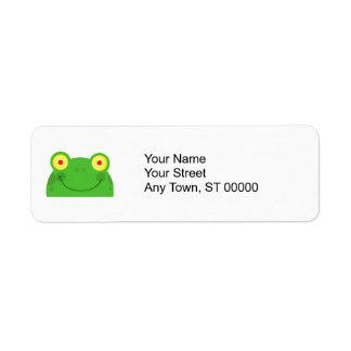 cute peeking cartoon frog froggy face label