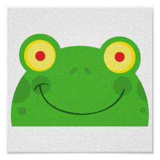cute peeking cartoon frog froggy face poster
