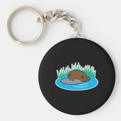 cute peeking platypus key chain