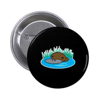 cute peeking platypus pinback button