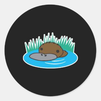 cute peeking platypus round stickers