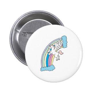 cute pegasus and rainbow design button