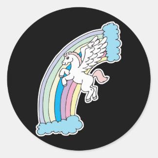 cute pegasus and rainbow design round sticker