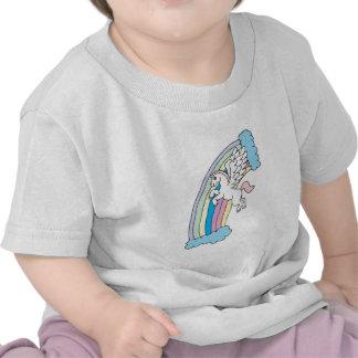 cute pegasus and rainbow design t shirts