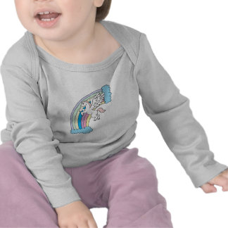 cute pegasus and rainbow design tee shirts