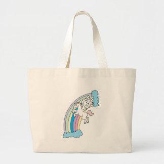 cute pegasus and rainbow design tote bags