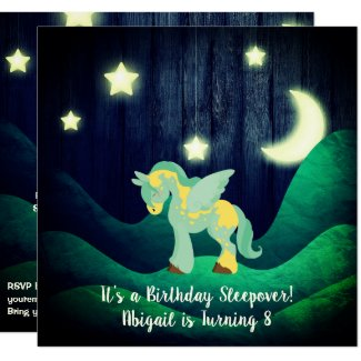 Cute Pegasus, Moon, Stars Sleepover Horse Birthday Invitation