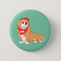 Cute Pekingese with Red Hat and Bone Bandana Dog Button