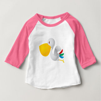 Cute Pelican Bird 3/4-Sleeve Raglan T-Shirt