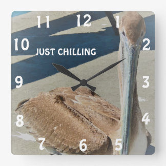 Cute Pelican Chilling in the Sun Photo Print Square Wall Clock