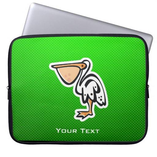 Cute Pelican; Green Laptop Sleeve