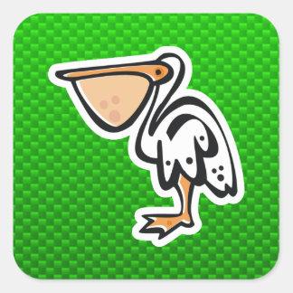 Cute Pelican; Green Square Sticker