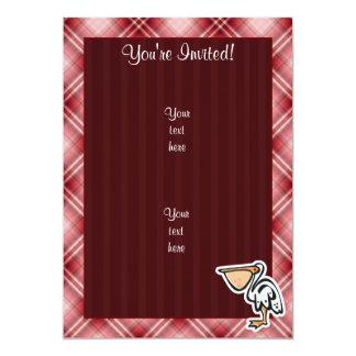 Cute Pelican; Red Plaid Card