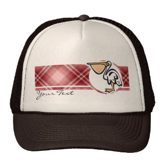 Cute Pelican; Red Plaid Trucker Hat