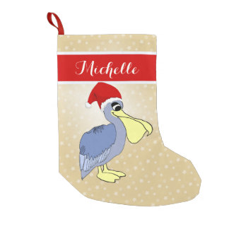 Cute Pelican Santa Small Christmas Stocking