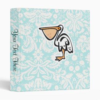 Cute Pelican; Teal 3 Ring Binder