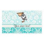 Cute Pelican; Teal Business Card Templates