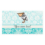 Cute Pelican; Teal Business Card Templates