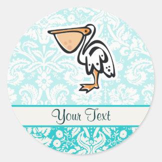 Cute Pelican; Teal Classic Round Sticker