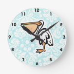 Cute Pelican; Teal Round Clocks