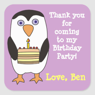 Cute Penguin 1st Birthday Party Stickers