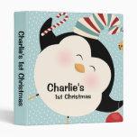 Cute Penguin 1st Christmas Keepsake 3 Ring Binder