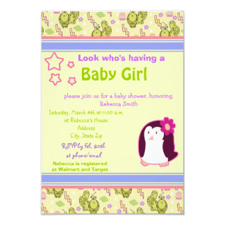 Cute Penguin and Birds Baby Shower Invite