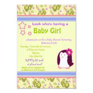 "Cute Penguin and Birds Baby Shower Invite 3.5"" X 5"" Invitation Card"