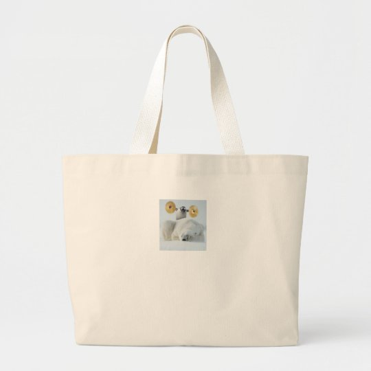Cute penguin and polar bear with cymbals in snow large tote bag