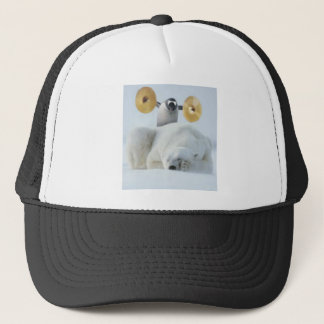 Cute penguin and polar bear with cymbals in snow trucker hat