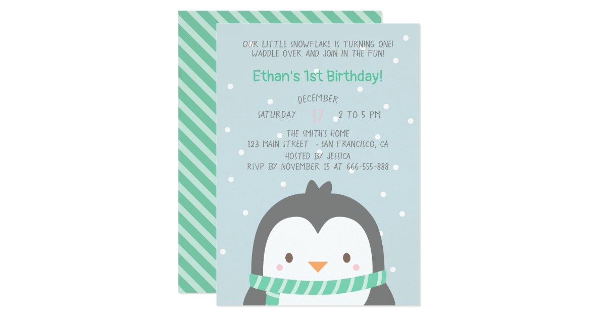 Cute Penguin And Scarf Birthday Party Invitations Zazzle Com