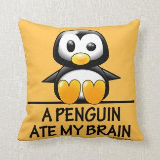 Cute Penguin Ate My Brain Throw Pillow