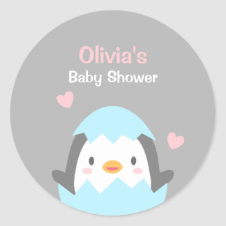 Cute Penguin Baby Shower Decoration Stickers