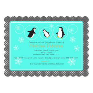 cute penguin baby shower invitation