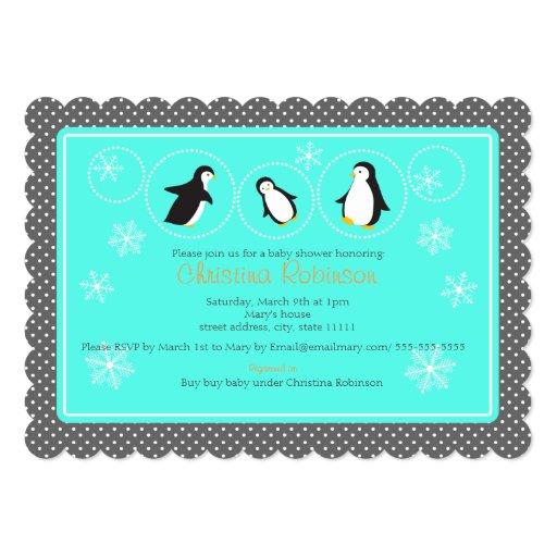 cute penguin baby shower invitation zazzle
