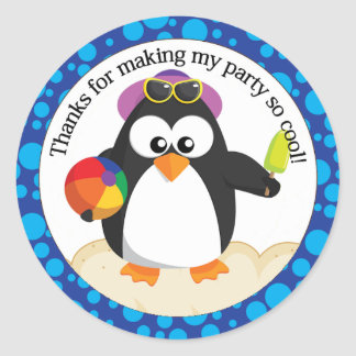 Cute Penguin Beach Party Classic Round Sticker